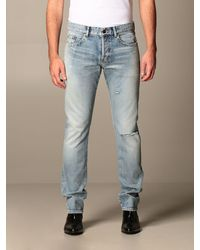 Saint Laurent Jeans in used con rotture - Blu