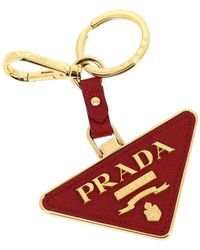 Prada Triangular Key Ring In Metal And Saffiano Leather - Red