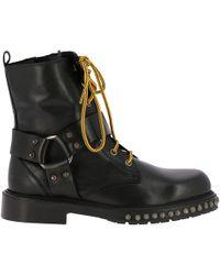 Pinko - Stud-embellished Commando Boots - Lyst