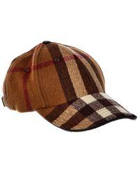 Burberry Check Leather-trim Wool Baseball Cap - Brown