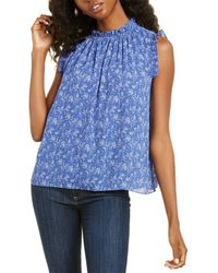 Cece By Cynthia Steffe Ruffled Toile Vines Top - Blue