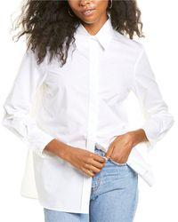 Sandro Adama Slit Hem Shirt - White