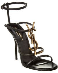 Saint Laurent Cassandra 110 Leather Ankle Strap Sandal - Black