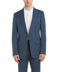 Tom Ford Shelton 2pc Linen , Silk, & Wool-blend Suit With Flat Pant - Blue