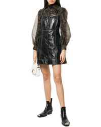 Ganni Button Front Leather Mini Dress - Black
