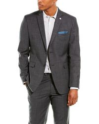 Original Penguin 2pc Slim Fit Wool-blend Suit With Flat Pant - Gray