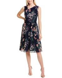 Kay Unger Floral Midi Dress - Blue