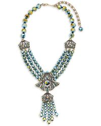 Heidi Daus Crystal Tassel Necklace - Metallic