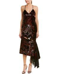 MILLY Fractured Bias Maxi Silk Slip Dress - Brown