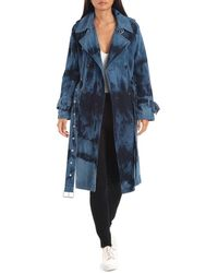 Avec Les Filles Tie-dye Washed Denim Trench Coat - Blue