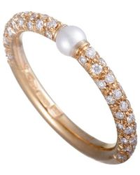 Mikimoto - 18k Rose Gold 0.35 Ct. Tw. Diamond & 3mm Akoya Pearl Ring - Lyst