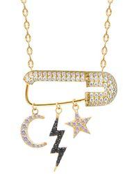 Gabi Rielle 14k Over Silver Cz Safety Pin We Dream Pendant Necklace - Metallic