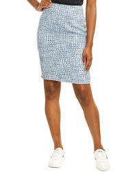 Karl Lagerfeld Tweed Pencil Skirt - Blue