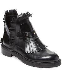 Aperlai | Fringe Leather Bootie | Lyst