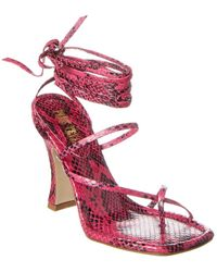 Paris Texas Snake-embossed Leather Ankle Wrap Sandal - Pink