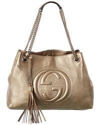 Gucci Gold Leather Chain Soho Bag - Multicolour