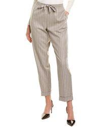 Les Copains Wool-blend Drawstring Pant - Grey