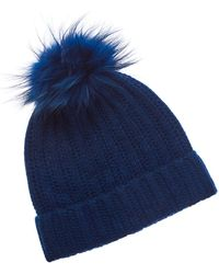 Phenix Cashmere Hat With Pom - Blue