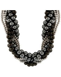 Splendid Silver 6-12mm Shell Pearl Necklace - Black