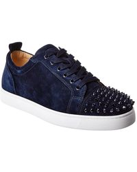 Christian Louboutin Louis Junior Studded Suede Sneakers - Blue