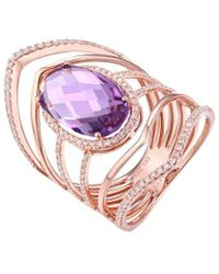 Diana M. Jewels . Fine Jewellery 14k Rose Gold 4.74 Ct. Tw. Diamond & Amethyst Ring - Pink