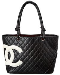 Chanel - Black Quilted Calfskin Leather Large Cambon Tote - Lyst