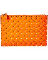 Valentino Garavani Rockstud Spike Leather Pouch - Orange