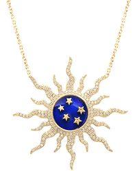 Gabi Rielle 22k Over Silver Cz & Enamel Necklace - Multicolour