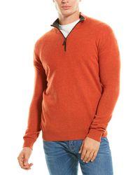 Forte Cashmere Suede Trim Cashmere 1/4-zip Mock Neck Sweater - Orange