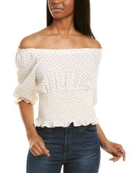 1.STATE Scatter Dot Puff Sleeve Top - Pink