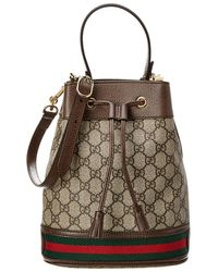 Gucci Ophidia Small GG Supreme Canvas & Leather Bucket Bag - Brown