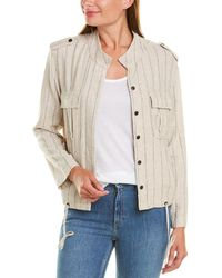 Vince Camuto Striped Linen-blend Jacket - Gray