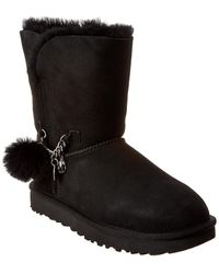 UGG Classic Short Charm Suede Boot - Black