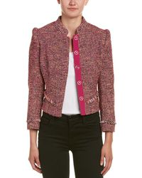 Karen Millen Tweed Wool-blend Jacket - Pink