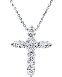 Diana M. Jewels . Fine Jewellery 18k 0.70 Ct. Tw. Diamond Cross Necklace - Metallic