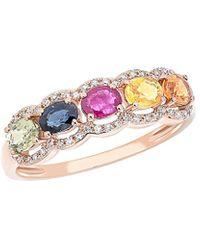 Diana M. Jewels . Fine Jewellery 14k Rose Gold 1.35 Ct. Tw. Diamond & Sapphire Ring - Pink
