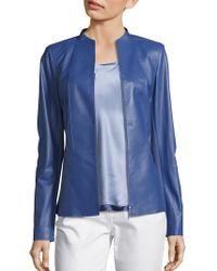 Lafayette 148 New York Kyla Panelled Leather Jacket - Blue