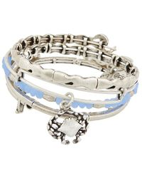ALEX AND ANI Set Of 4 Nautical Expandable Bangles - Natural
