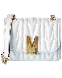 Moschino M Quilted Leather Shoulder Bag - White