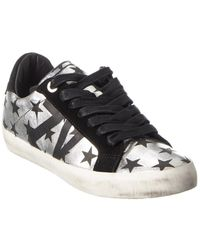 Zadig & Voltaire Used Stars Circus Leather & Suede Trainer - Metallic