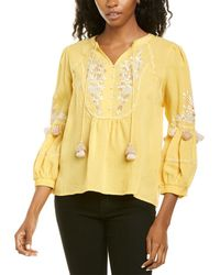 Ranna Gill Embroidered Linen Top - Yellow