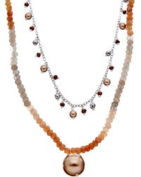 Chan Luu Silver Gemstone & 4-12mm Pearl Double Layer Short Necklace - Metallic