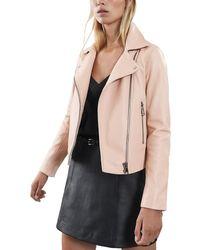 Reiss Gia Leather Biker Jacket - Pink