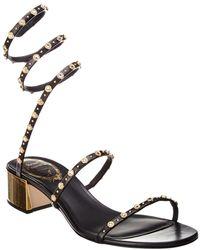 Rene Caovilla Cleo Borchia 40 Studded Leather Sandal - Black