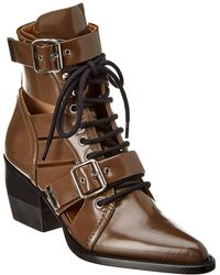 Chloé Rylee Double Buckle Leather Boot - Brown
