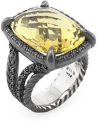 David Yurman - Vintage Citrine & 0.65 Total Ct. Black Diamond Chatelaine Ring - Lyst