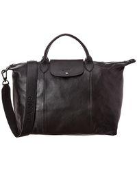 Longchamp Le Pliage Cuir Large Leather Logo Strap & Short Handle Tote - Black