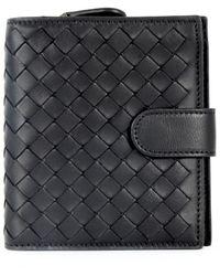 Bottega Veneta Mini Intrecciato Leather Bifold Wallet - Black