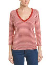 Three Dots Stripe T-shirt - Red