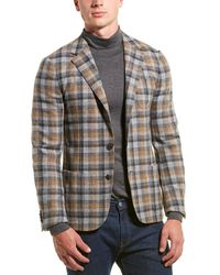Z Zegna Checked Wool-blend Jacket - Grey